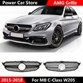 Для AMG Style хромированная Серебристая Автомобильная передняя решетка глянцевый черный гриль для Mercedes для Benz C Class W205 C200 C250 C300 C350 2015-2018