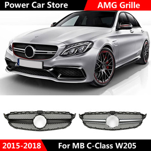 Dla AMG Style Chrome srebrny samochód przedni Grill czarny błyszczący Grill dla mercedesa dla Benz C klasa W205 C200 C250 C300 C350 2015-2018