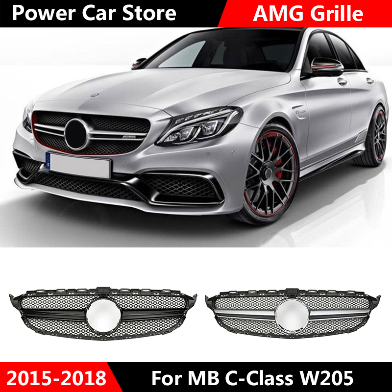 For <font><b>AMG</b></font> Style Chrome Silver Car Front Grille Gloss Black Grill For Mercedes For Benz C Class <font><b>W205</b></font> <font><b>C200</b></font> C250 C300 C350 2015-2018 image