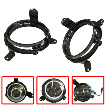 Pair Omnidirectional LED Headlight Mounting Brackets Steel Extension Adapter Rings Replacement for 2018 Jeep Wrangler JL (Black)