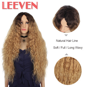 Image 4 - Leeven Hair Synthetic Ombre Blonde Black Red Wig 30 Inch Long Wavy African American Wigs For Women High Temperature Fiber