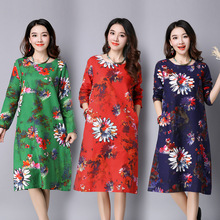 O-neck Long Sleeve Plus Size Print Women Dress Vintage Chinese Style Loose Autumn Dress Oversized Long Robe Gown Dresses
