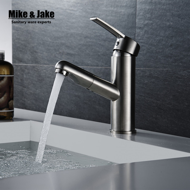 Pull Out Brush Nickel Basin Sink Tap Bathroom Faucet Pull Down Sprayer  Basin Tap Crane Shower