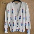 2017 весна новый стиль женщины мороженое printted кардиган свитер моды вязаный жакет верхняя одежда WS-015
