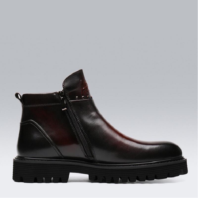 negro Moda Chelsea Marrón De Hombres marrón Botte Negro Zapatos Vintage Mycolen Botas Genuino Hombre Boda Cuero Nuevo qzP8tP