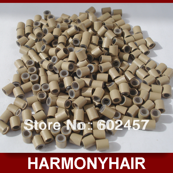 (1 bag/lot) Cheap Shipping 4.0*3.0mm 10000pcs/bag hair extension silicone copper tube for I tip hair extension tools