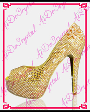 Aidocrystal Hochzeit Frauen Schuhe Kristall High Heels Frauen Pumpt 2016 Mode fischmundschuhe