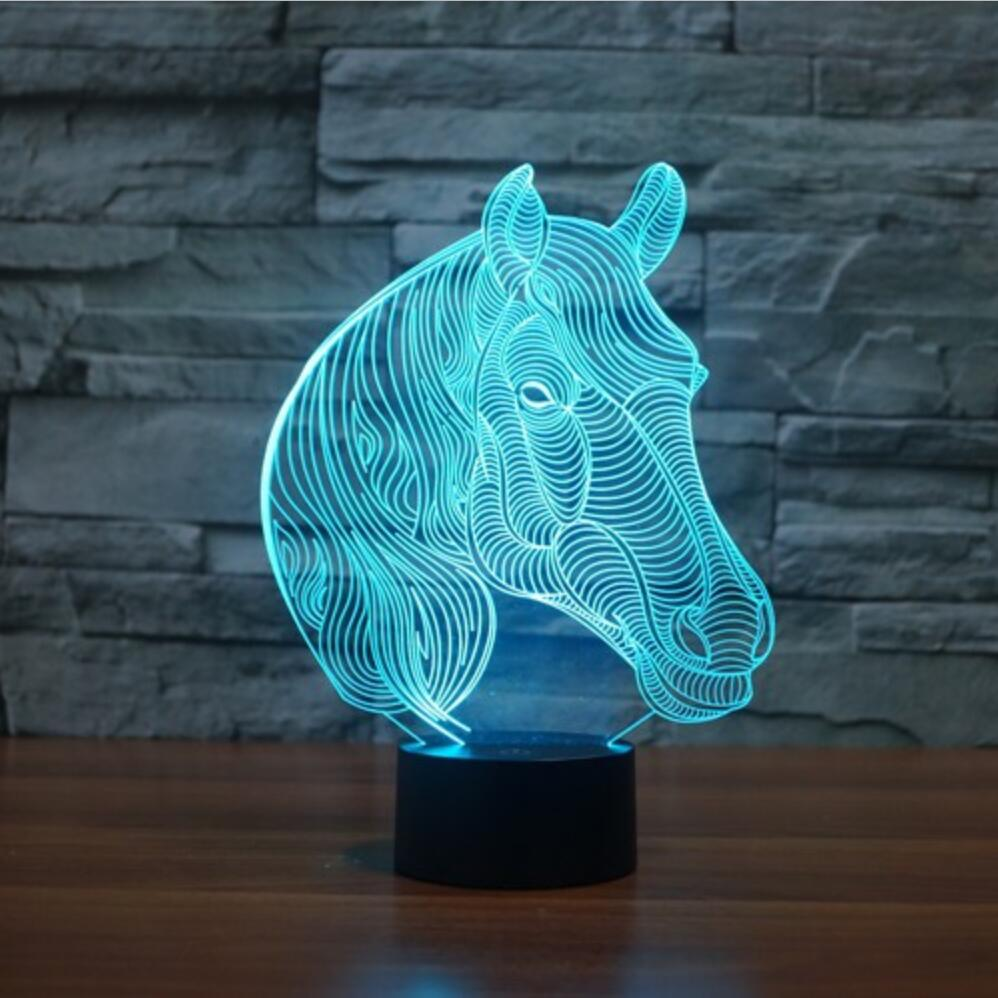 Colorful table lamps - 7 Colors Changing Gradient Fashion Animal Horse Head Led Nightlights 3d Led Desk Table Lamp Lamps