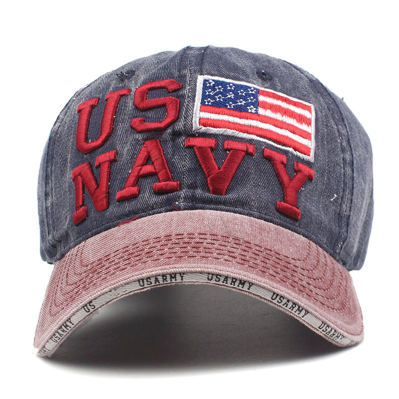 93d6a381984 Xthree 100% Washed Cotton Baseball Caps Men Navy Hat Cap Embroidery ...