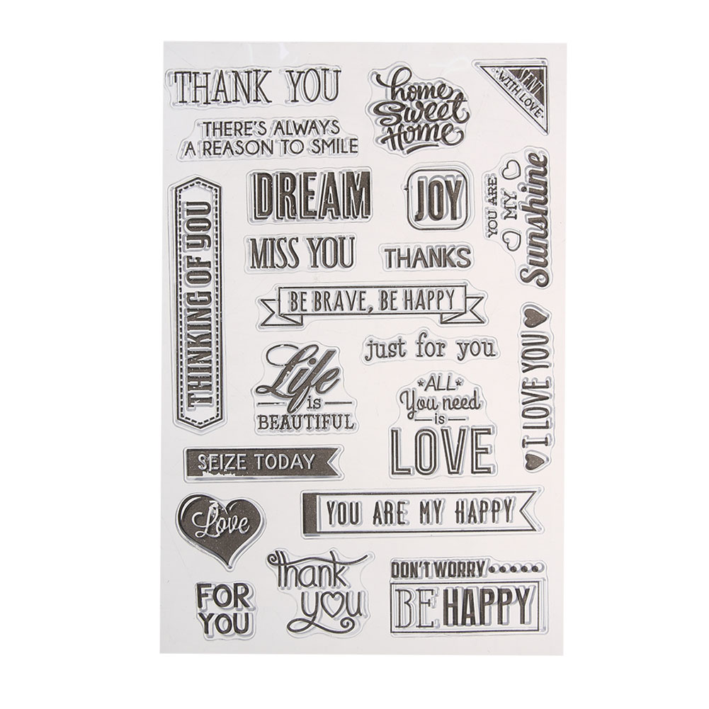 MISS YOU LOVE THANK YOU Scrapbook DIY Photo Cards Account Silicone Stamp Clear Stamp Transparent Stamp for Scrapbooking 15x10cm