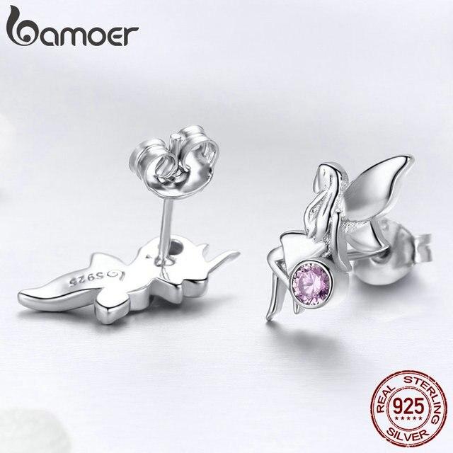 925 Sterling Silver Flower Fairy Pink Stud Earrings for Women 3