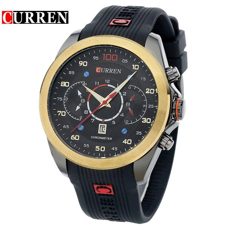 Curren Mens Watches Top Brand Luxury Sports Quartz Silicone Wristwatches Relogio Masculino Men 2016