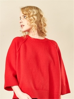 European And American New 3/4 Sleeve O-neck Cashmere Pullover Loose Women's Knitwear JRN015