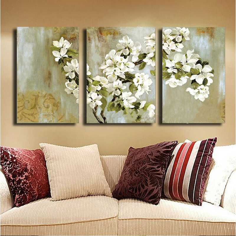 Hand-painted White Flower Oil painting on Canvas Modern Home Decor Wall Art Acrylic Floral Paintings For Sale 5 Panel Pictures