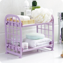 1Pcs Mini Double Deck Plastic Storage Rack Kitchen Shelf Living Room Desktop Bathroom Washing Table Organizer