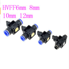 цена на cheap Hand Valve Fitting HVFF 6mm 8mm 10mm 12mm OD Hose Pipe Tube Push Into Connect T-joint 2-Way Flow Limiting Speed Control