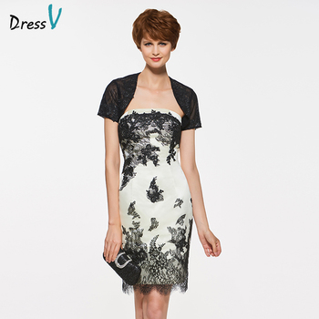 Dressv beige knee length strapless sheath mother of bride dress with jacket appliques lace long mother evening gown custom