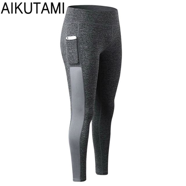 b32233ec74 Women Running Tights Sports Pants with Pocket Splicing High Elastic Quick  Dry Fitness Gym Yoga Hit Color Slim Workout Leggings
