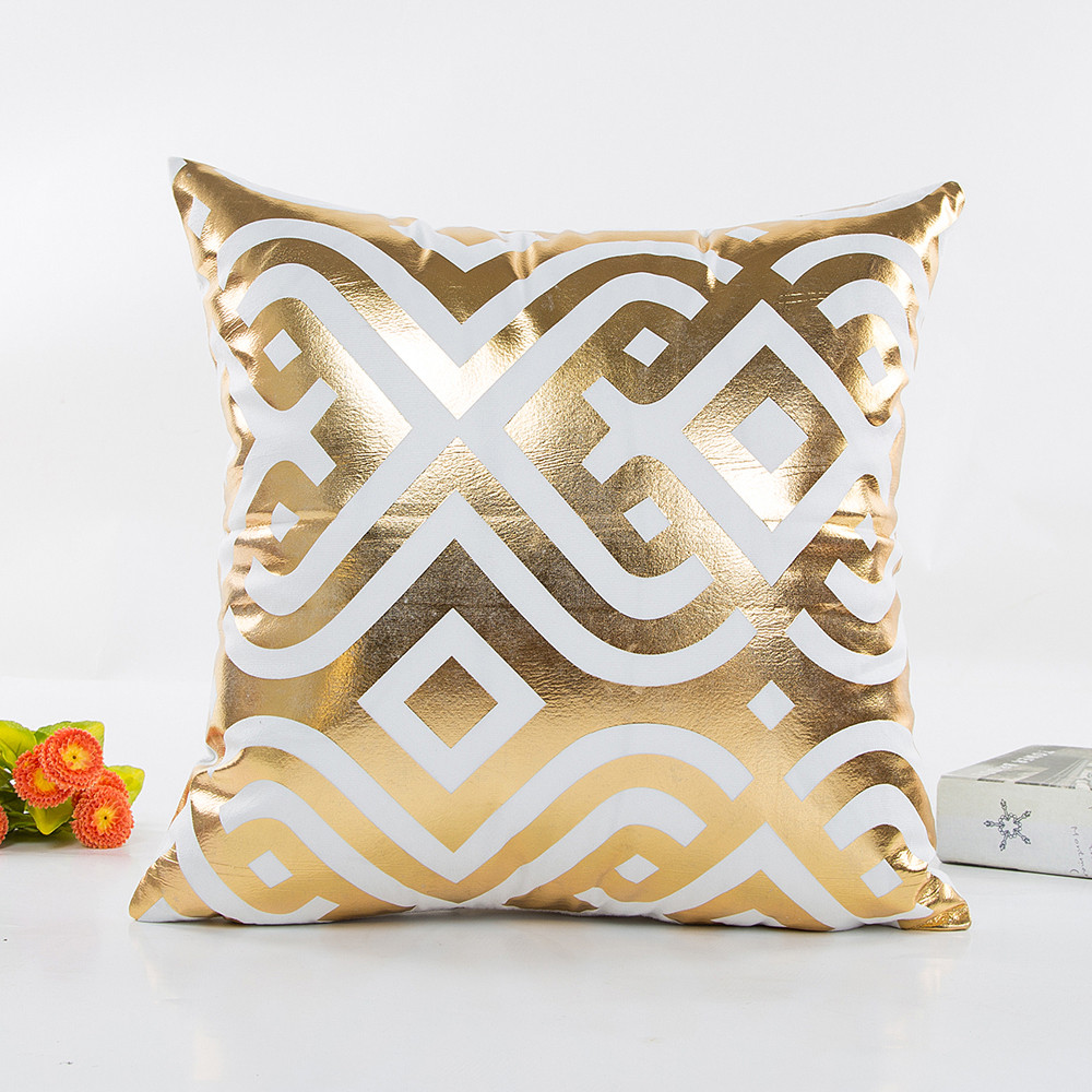 Image 2 - Fashion Geometric Gold Foil Printing Pillow Cover 45cmX45cm High Quality Sofa Waist Throw Cushion Cover Bed Home Decoration-in Cushion Cover from Home & Garden