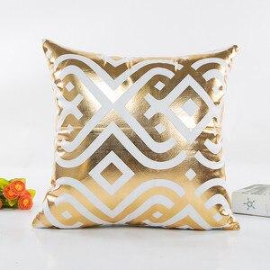 Image 2 - Fashion Geometric Gold Foil Printing Pillow Cover 45cmX45cm High Quality Sofa Waist Throw Cushion Cover Bed Home Decoration