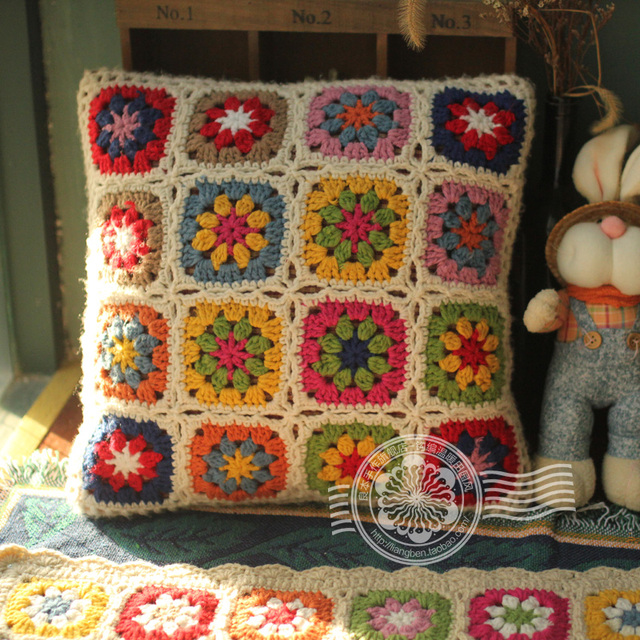 2017 Tissu Almofada Funda de Almohada Crochet Granny Daisy Flor ...