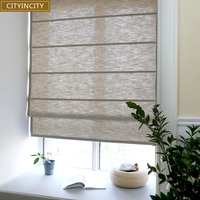 CITYINCITY Solid Faux linen curtain roman blind For living room half Blackout roman blinds roller for Kitchen window Customized