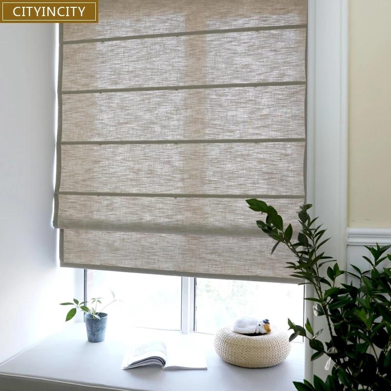 cityincity rideau en faux lin solide stores romains semi occultants pour salon rouleau pour fenetre de cuisine personnalise