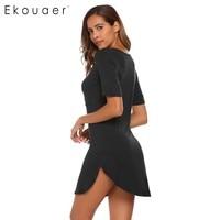 Ekouaer קיץ Loose Nightwear הלבשת מזדמן נשים כותנות לילה נשים V-צוואר קצר שרוול מיני שמלת S/M/L/XL/XXL