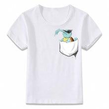 d47e2e0c5 Kids Clothes T Shirt Pocket Charmander Eevee Pikachu Squirtle Bulbasaur  Gengar Mewtwo Pokemon T-shirt