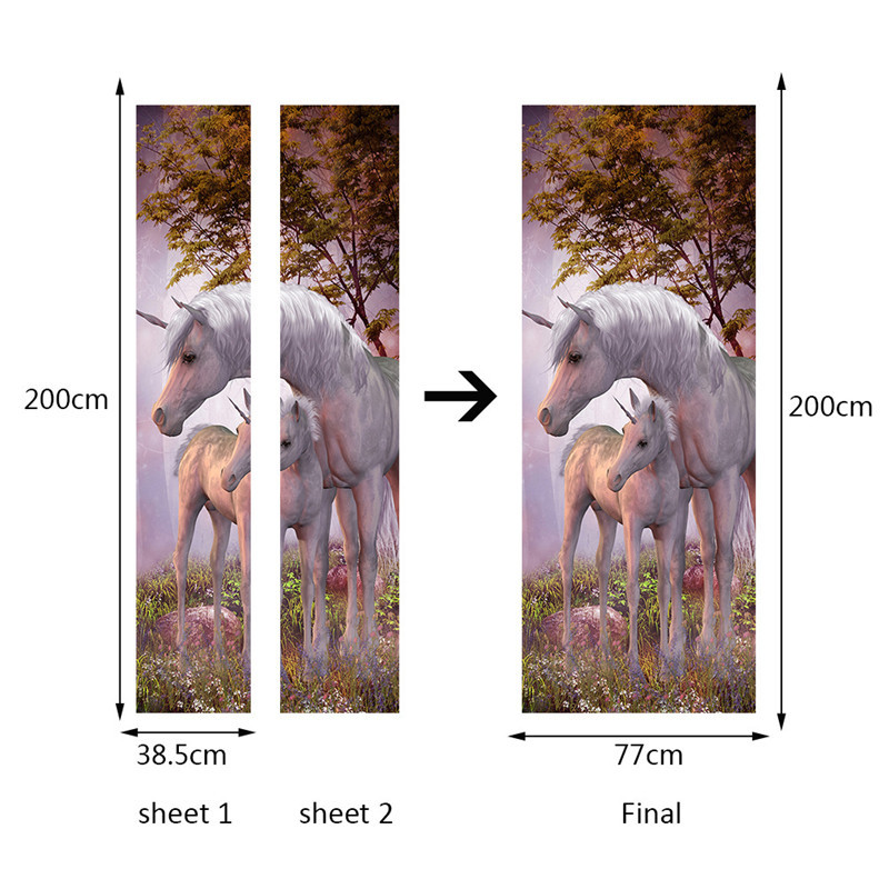 Image 3 - White Unicorn Horse Poster PVC Waterproof Door Sticker Creative Stickers Door Wall Sticker DIY Mural Bedroom Home Decor-in Wall Stickers from Home & Garden