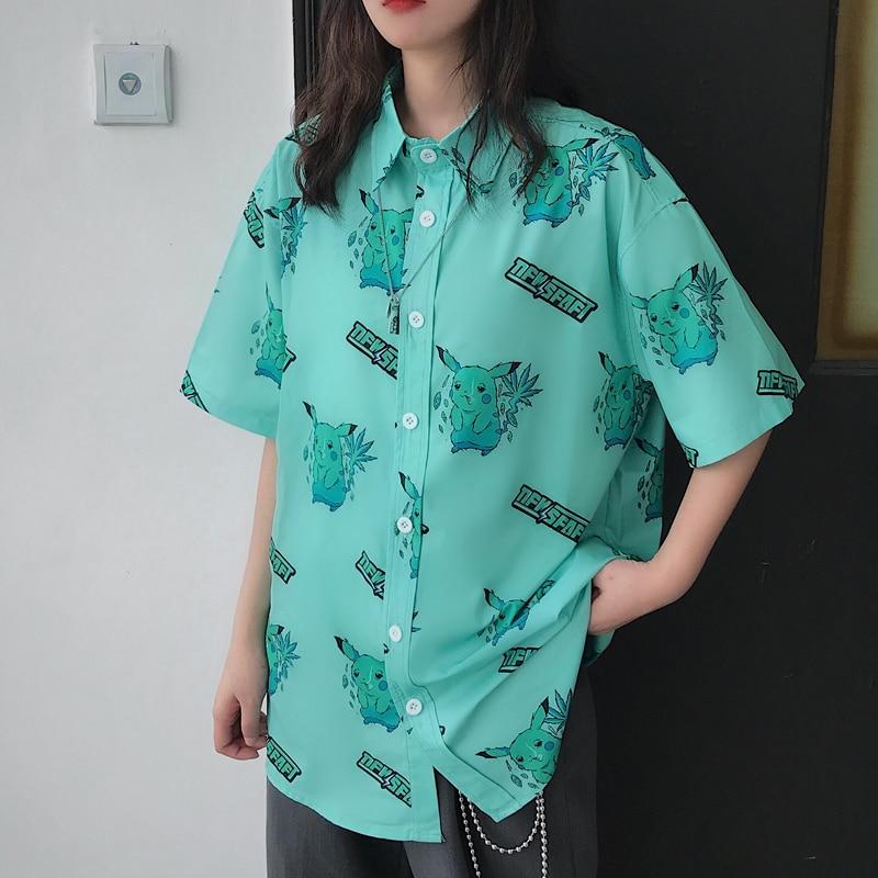 Camisas femininas ulzzang japonês kawaii senhoras vintage pikachu impressão solta camisa feminina harajuku coreano roupas bonitas para mulher