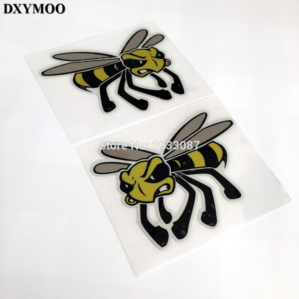 Pack of 2pcs car styling motogp italy honeybee motorcycle helmet car sticker decals for vespa piaggio kenblock bee in car stickers from automobiles