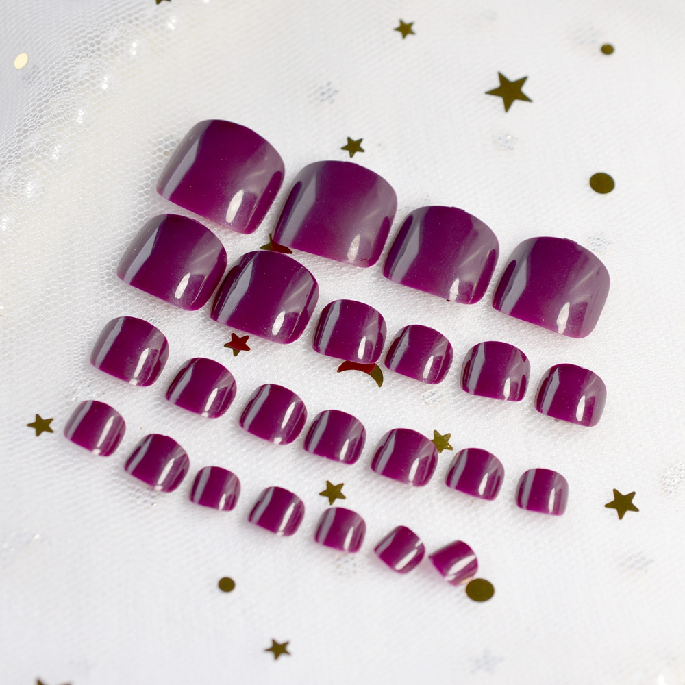 Dark Purple Fake Toenails DIY Fashion Colors Toe Nails Sticker 24pcs ...