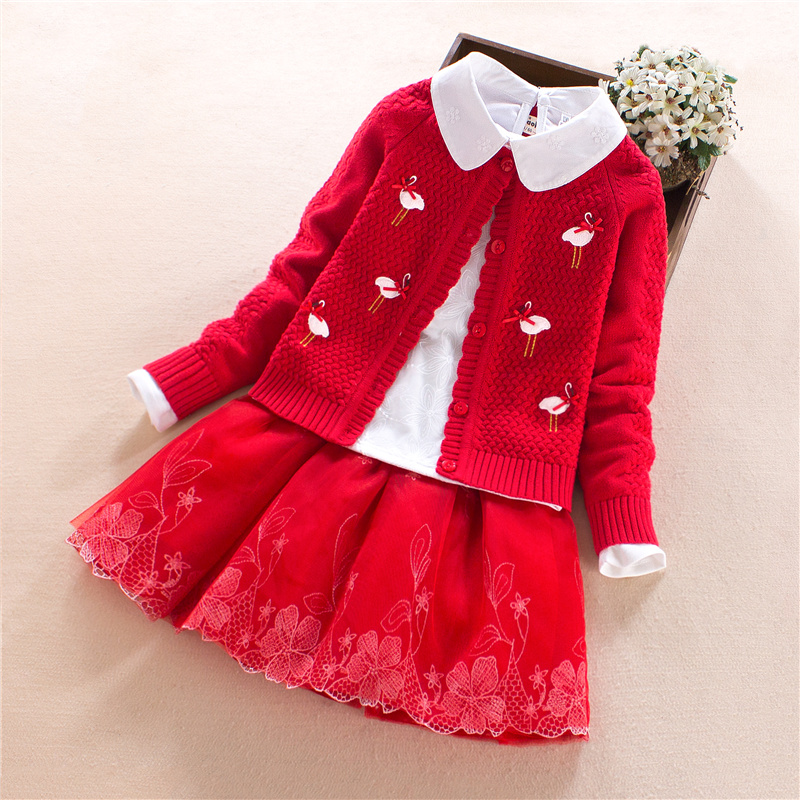 Big Girls Clothing Sets 2018 new goods Children Clothes Long Sleeve Cartoon Coats +T-shirt+ Skirts 3Pcs Kids Clothing Sets 7-14Y
