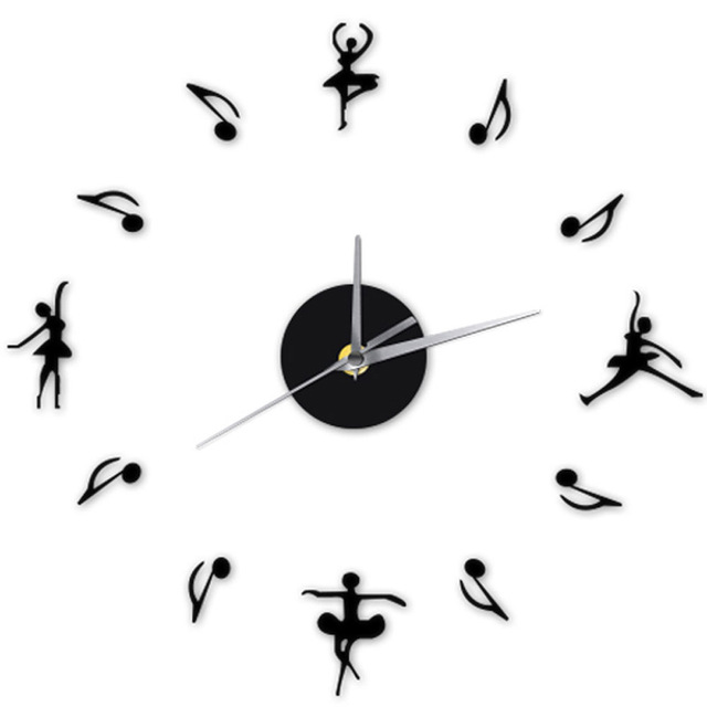 Dancing Girl Music Note 3D DIY Self Adhensive Wall Sticker Modern Design  Classroom Wall Clock