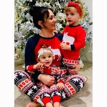 Семейный Рождественский пижамный комплект; Прямая поставка; одинаковые Семейные комплекты; теплые взрослые дети девочки мальчик мама; одежда для сна Одежда для мамы и дочки