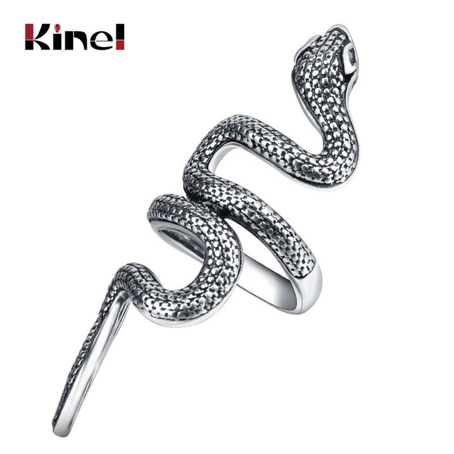 Kinel Wholesale Fashion Snake Rings For Women Silver Color Heavy Metals Punk Roc