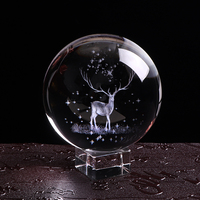 80mm Miniature Wapiti Crystal Ball 3D Laser Engraved Glass Globe Crystal Craft Home Decor Accessories Ornament Birthday Gifts