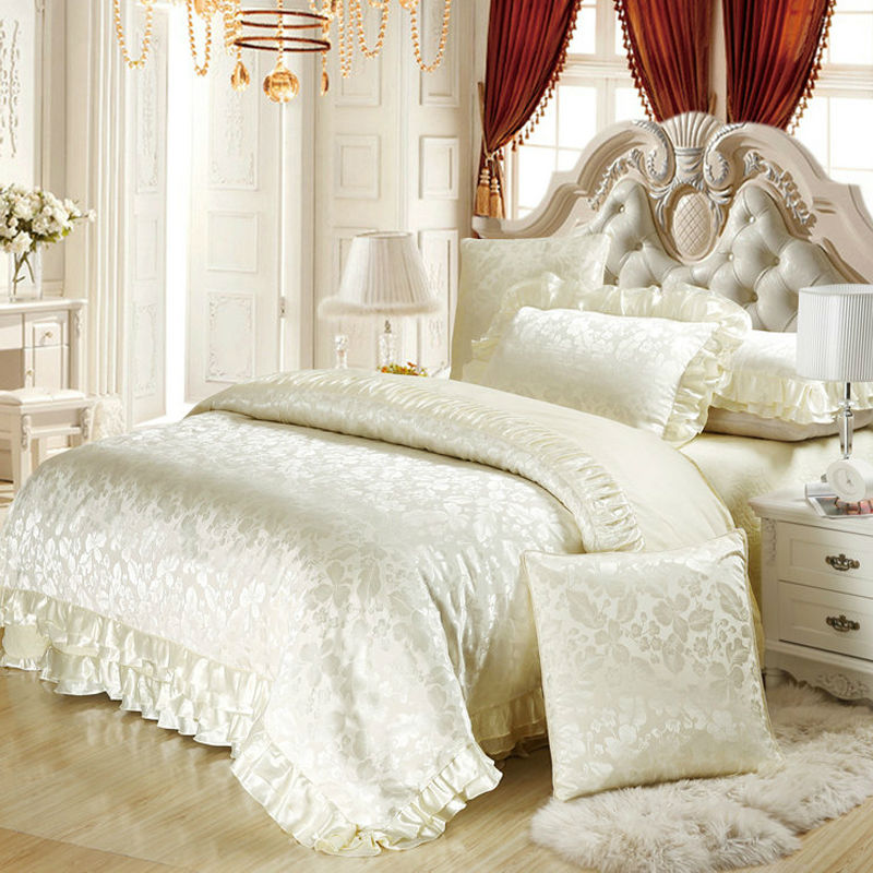6pc 4pc silk satin cotton blend luxury bedding set king for Luxury cotton comforter sets