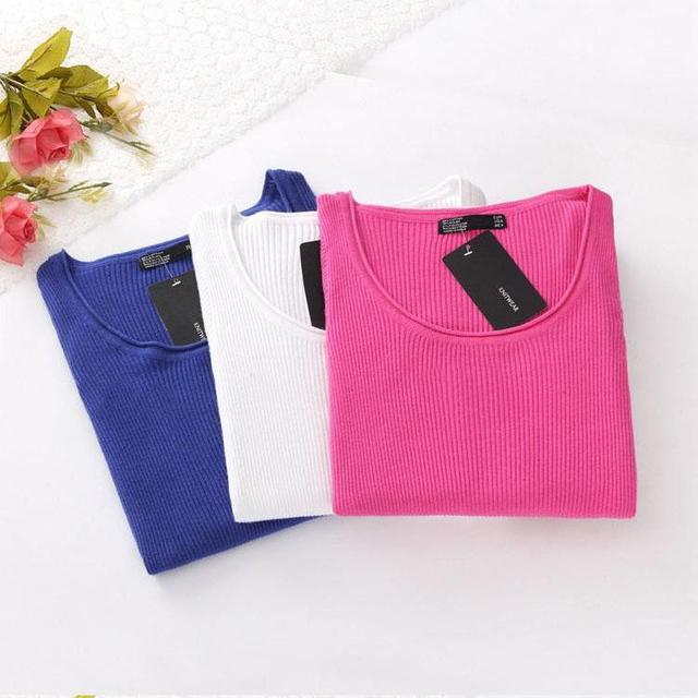 New Winter Sweater Slim Hedging Long-Sleeved Striped Shell Elastic Round Neck Sweater Hedging Women