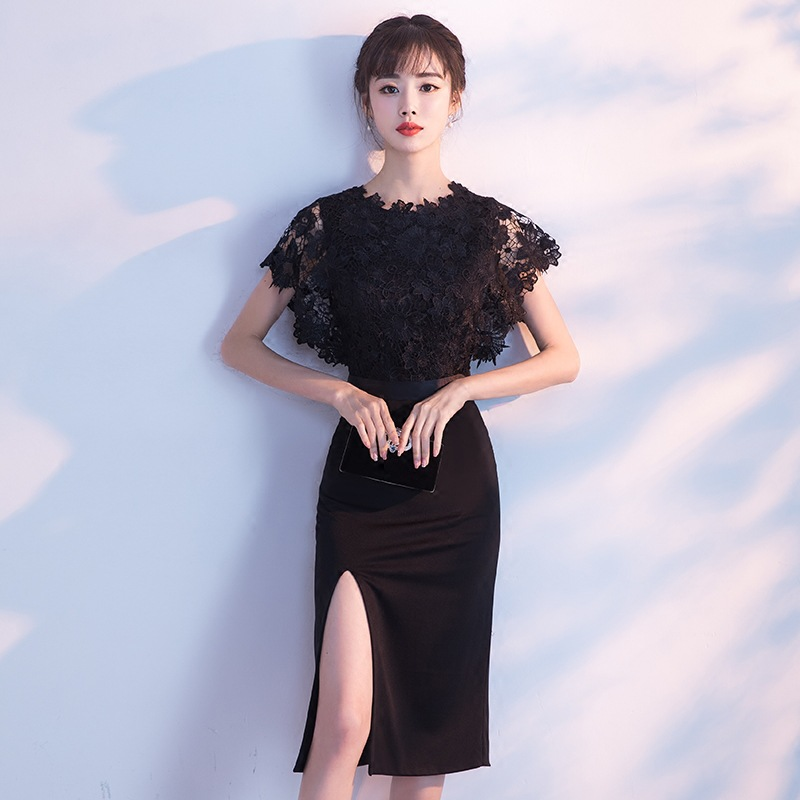 2019 New Sexy Slit Knee Length Cocktail Dress Black High Quality Custom Made Woman Part Cocktail Dresses