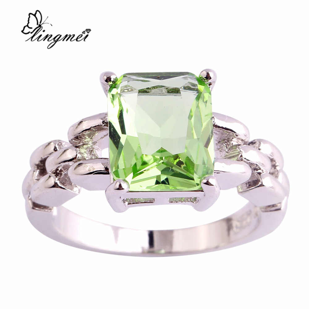lingmei $0.99 Big Promotion Wholesale Green Purple AAA CZ Silver Color Ring Size 6 7 8 9 10 11 Women Chic Popular Party Jewelry