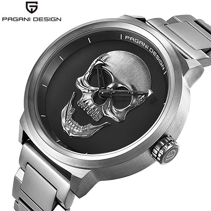 2017 Pagani Pirate 3D Skull Personaliz Watches Quartz Men Watch Brand Mens Military Sports Watch Waterproof Relogio Masculino skone genuine pirate skull style quartz men watches brand men military leather men sports watch waterproof relogio masculino