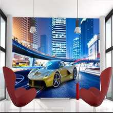 3D City Night Landscape Yellow Sport Car