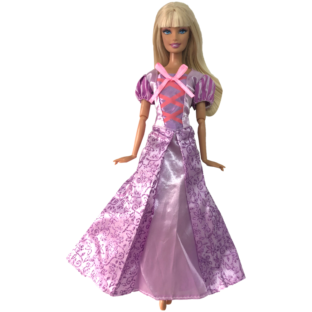 NK One Set Princess Rapunzel  Doll Dress Similar Fairy Tale Wedding Dress Gown Party Outfit For Barbie Doll Best Girls' Gift 10A