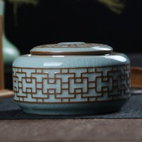 Tea Caddy Porcelain Seal Food Storage Boxes Packaging Cans Of Green Tea Retro Home Decorations
