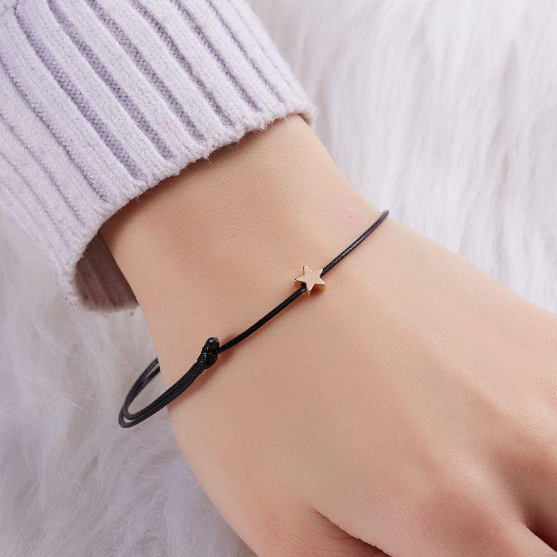Good Luck Wish Card Star Charm Adjustable Wax Rope Bracelet Friendship Jewelry in Charm Bracelets from Jewelry Accessories