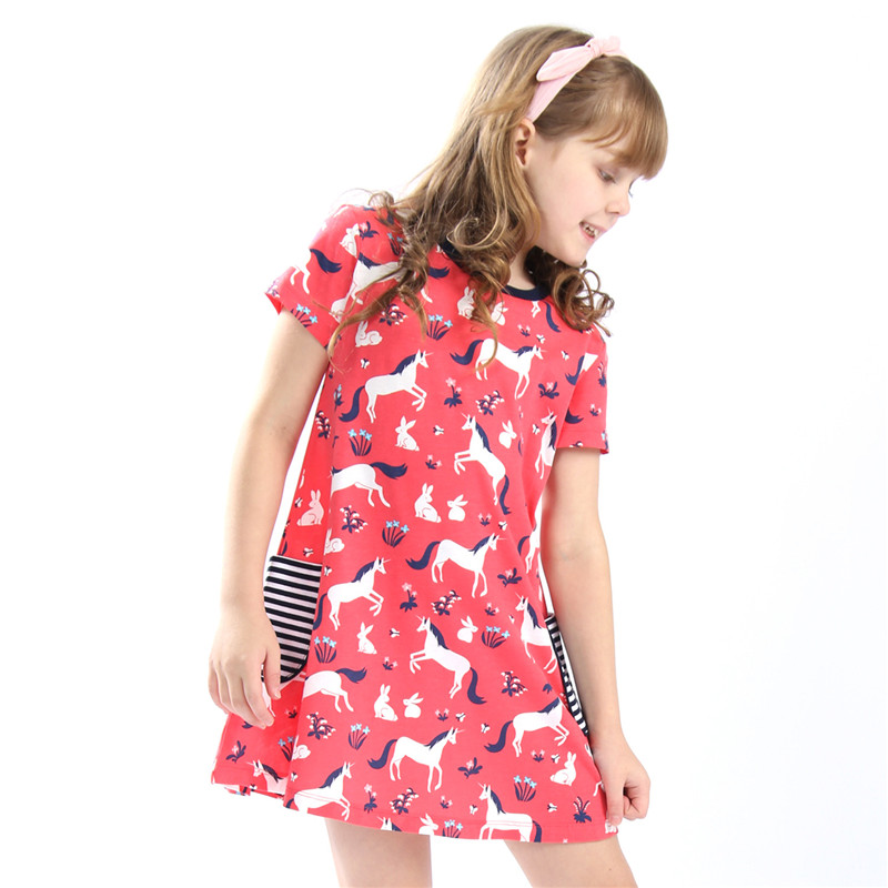 New arrival unicorn girl dresses cotton o-neck with printed animals unicorn pockets summer children girls clothes baby kids wear