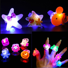 Kids Boy Girl Cartoon Colors Blinking LED Light Up Jelly Finger Rings Party Glow Rings Christmas New Year(China)
