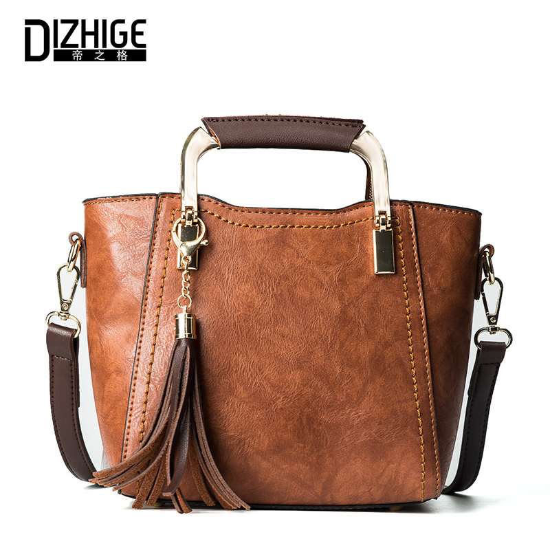 цены  DIZHIGE Women Shoulder Bag Female High Quality PU Leather Tassel Handbag Ladies Crossbody Messenger Bags Famous Brand Designer